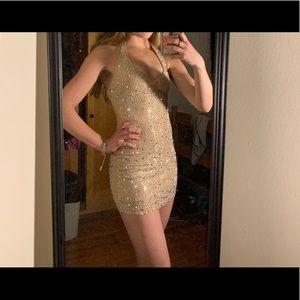 Tight sparkly mini dress, beige